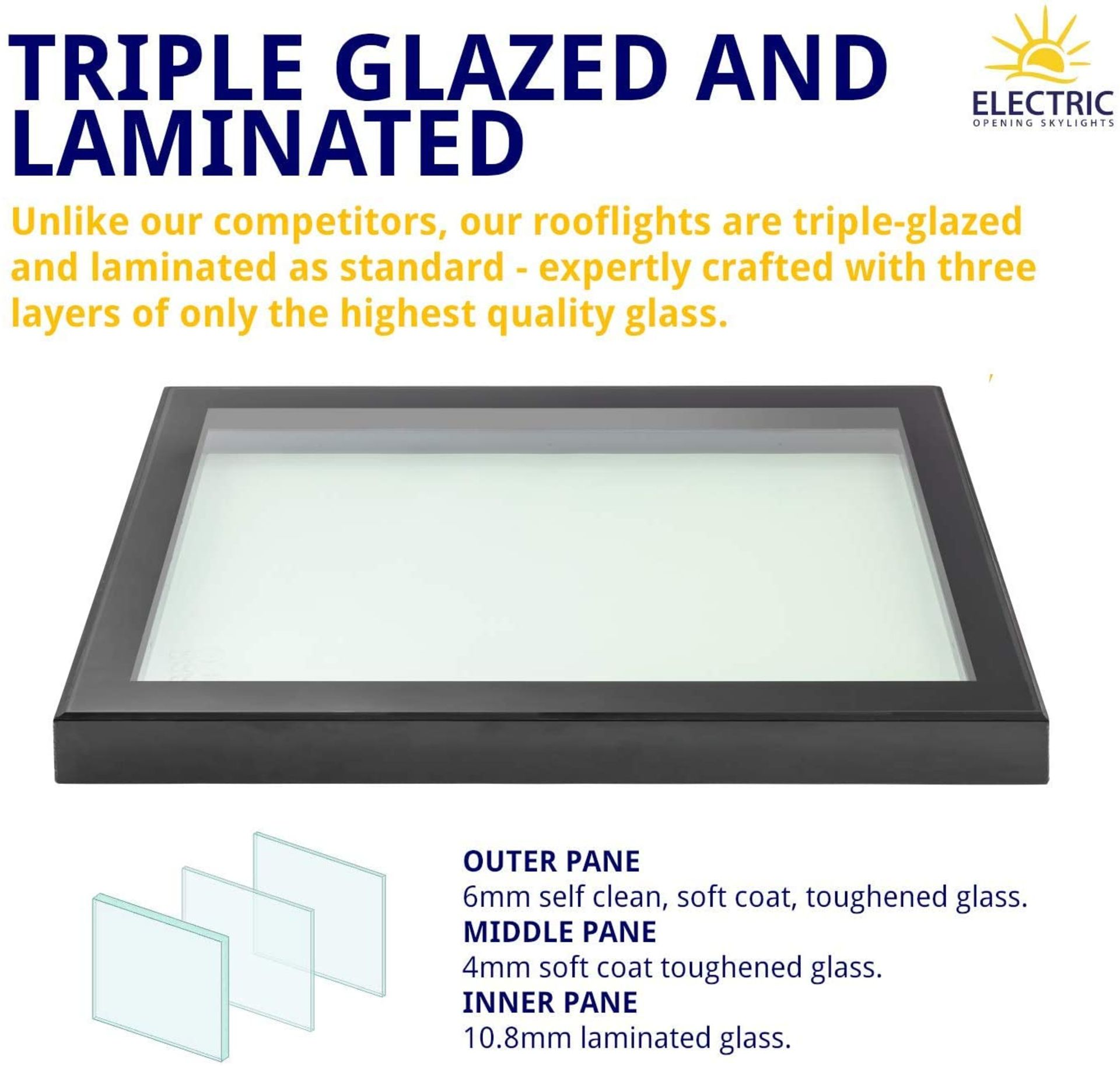 Panoroof (EOS) Fixed Aluminium Triple-Glazed Laminated Skylight with Self-Cleaning Glass - 800x800mm - Image 3 of 6