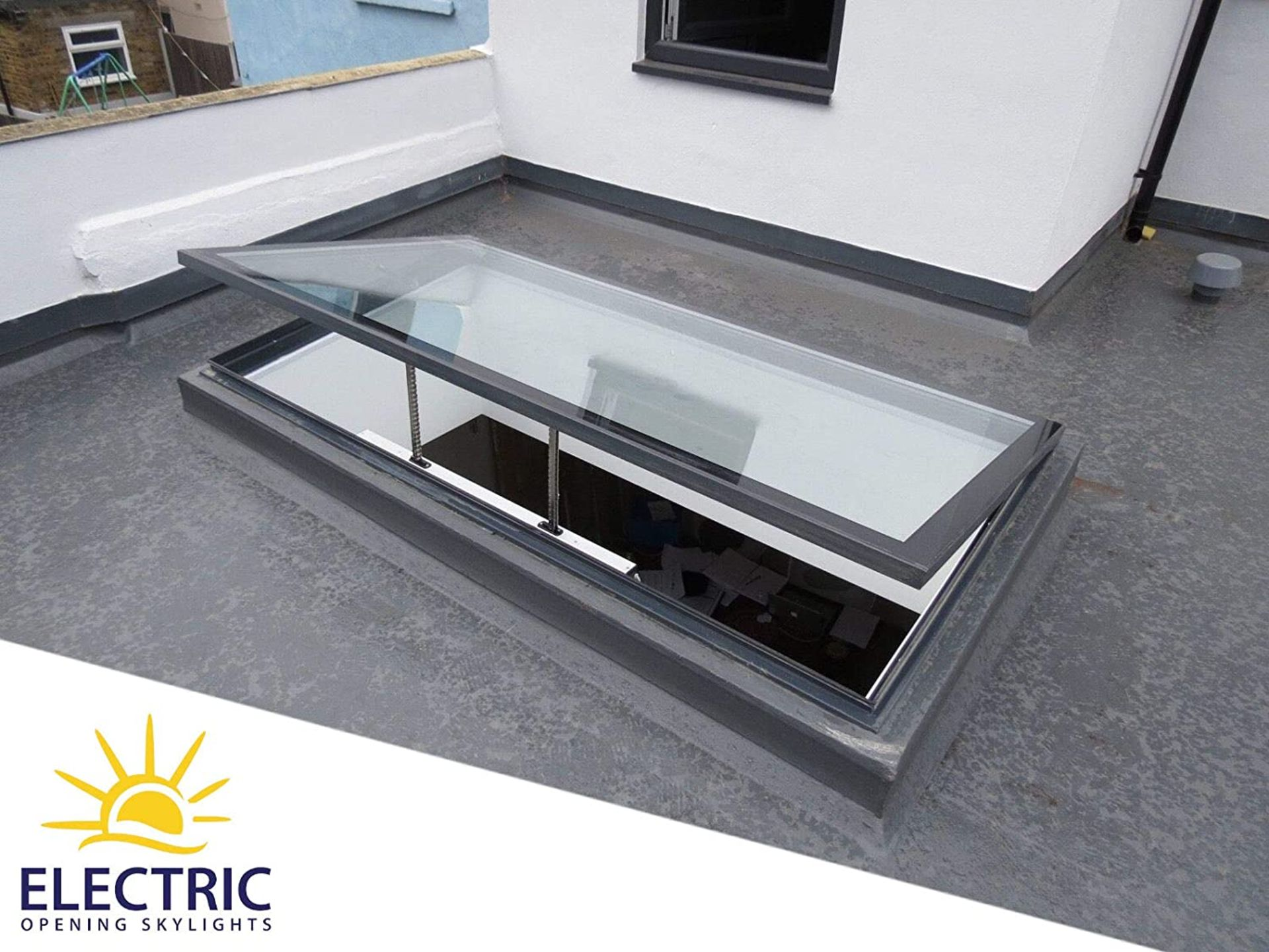 Panoroof (EOS) Electric Opening Skylight 800x1800mm - Aluminiun Frame Double Glazed Laminated Self-