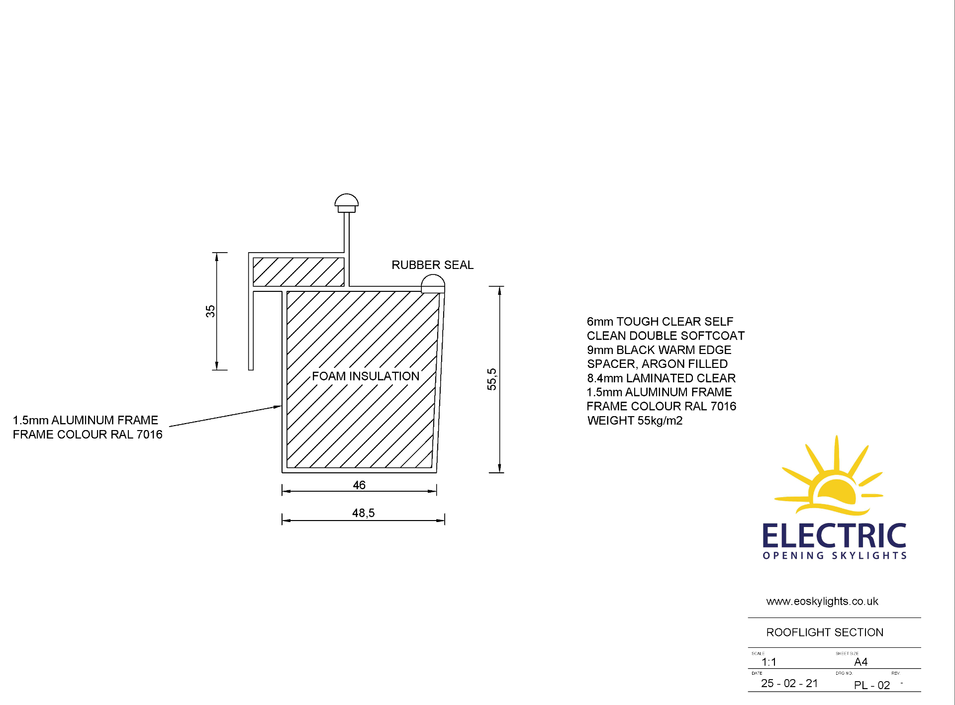 Panoroof (EOS) Electric Opening Skylight 800x1800mm - Aluminiun Frame Double Glazed Laminated Self- - Image 5 of 6