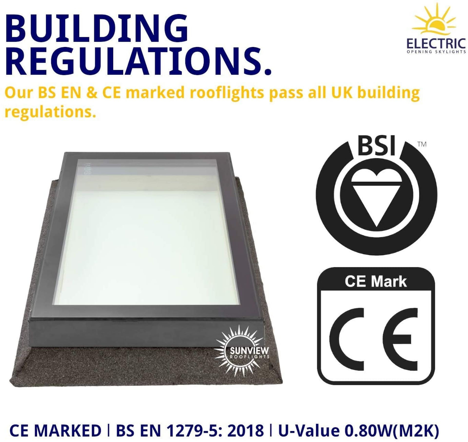 Panoroof (EOS) Fixed Aluminium Triple-Glazed Laminated Skylight with Self-Cleaning Glass - 800x800mm - Image 5 of 6