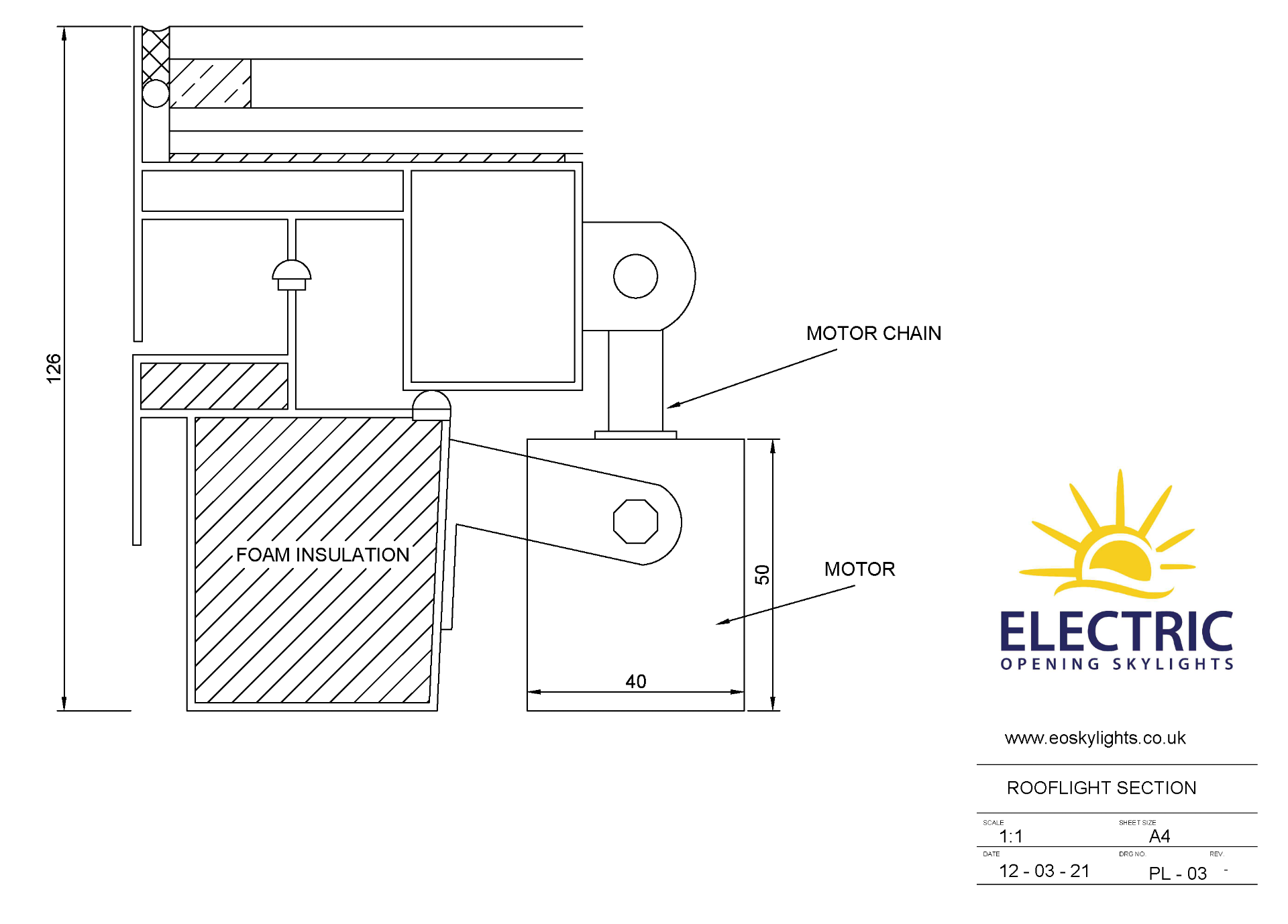 Panoroof (EOS) Electric Opening Skylight 800x1800mm - Aluminiun Frame Double Glazed Laminated Self- - Image 4 of 6
