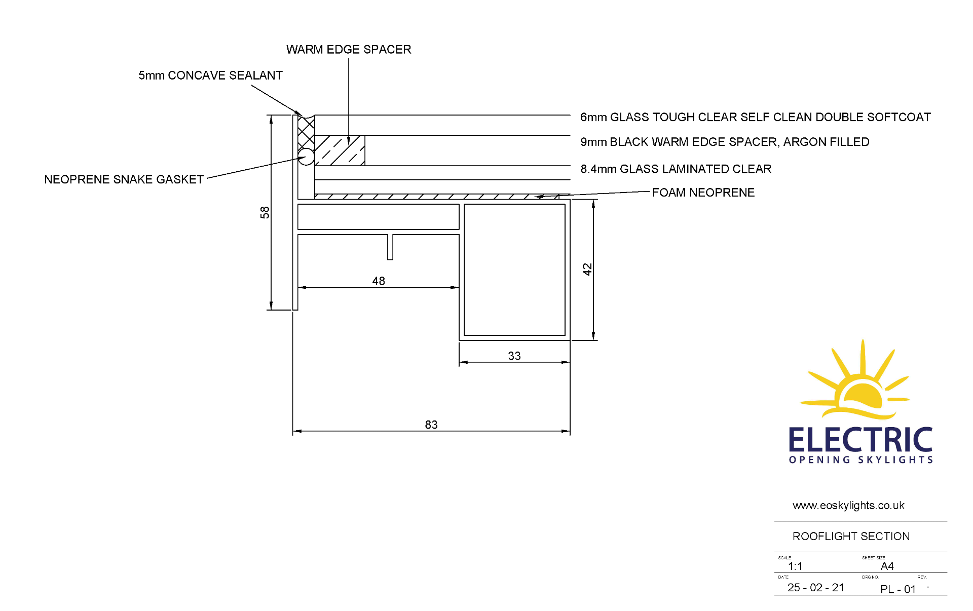 Panoroof (EOS) Electric Opening Skylight 800x1800mm - Aluminiun Frame Double Glazed Laminated Self- - Image 6 of 6