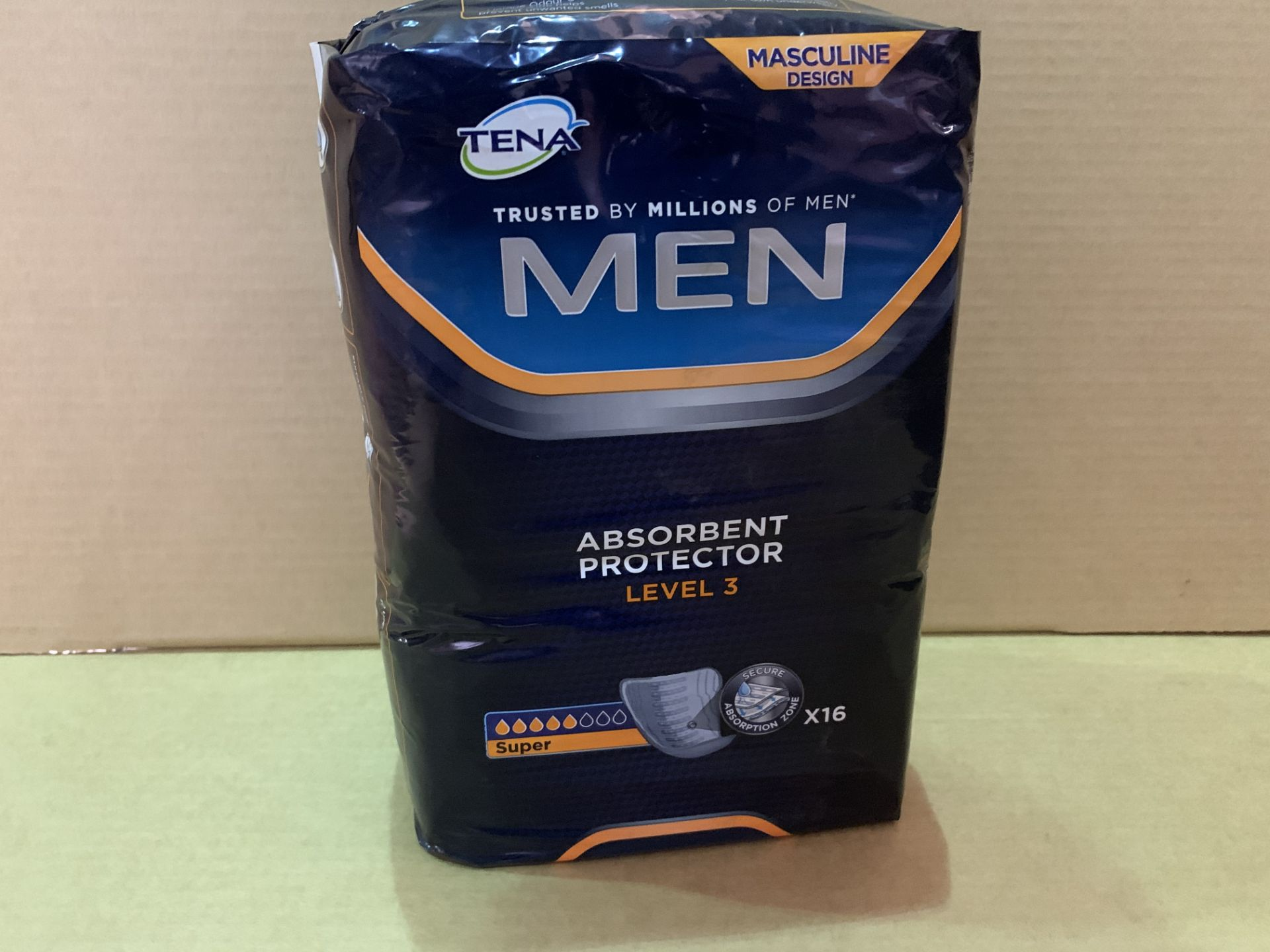 24 X BRAND NEW PACKS OF 16 TENA MEN ABSORBENT PROTECTOR LEVEL 3 PADS IN 4 BOXES