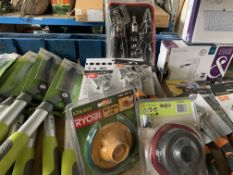 MIXED LOT 26 ITEMS TO INCLUDE PIPE JOINTING TOOL, METAL FRAME SET, RYOBI STIMMER REEL, SANDING PAPER