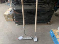 4 X NEW VERVE GARDEN SOIL RAKES & 2 X VERVE LONG HANDLE PATIO KNIFES