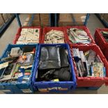 CONTENTS TO 6 TRAYS TO INCLUDE FLAP COVERS, DVDS, CASES, DYMO PRINTER ETC