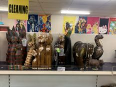 20 X VARIOUS WOODEN ANIMAL ORNAMENTS INCLUDING CATS, ELEPHANTS ETC