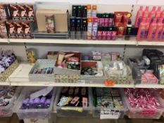 4 SHELVES APPROX 500 ITEMS INCLUDING EMERGENCY TRAVEL KITS, HYDRATING CLEANING CLOTH, HAIR DYE ETC