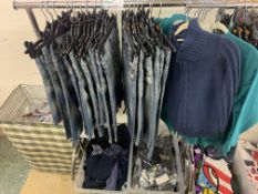 CONTENTS TO RACK INCLUDING T-SHIRTS, JEANS AND JUMPERS APPROX 60 ITEMS