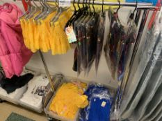 CLOTHING RACK AND CONTENTS TO INCLUDE APPROX 50 ITEMS OF SWIMWEAR, TROUSERS ETC