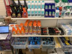 CONTENTS TO 4 SHELVES APPROX 200 ITEMS INCLUDING MR MUSCLE SHOWER CLEANER, GREASE CLEANER, CARPET