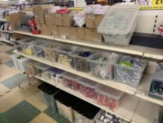 CONTENTS OF 4 SHELVES IN 2 BAYS INCLUDING MAKEUP BAGS, MAKEUP SETS, SHAMPOO, CONES APPROX 1000