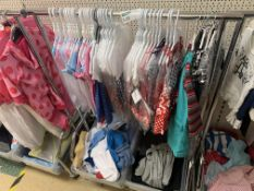 CLOTHES RACK AND CONTENTS APPROX 60 ITEMS INCLUDING DRESSES, 2 PIECE OUTFITS ETC