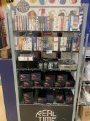 DISPLAY RACK AND BRAND NEW CONTENTS INCLUDING PEN AND TIE KEYRING SETS AND VHS