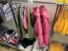 CONTENTS TO RACK INCLUDING JUICY COUTURE TRACKSUIT TOPS, KIDS COATS, T SHIRTS ETC