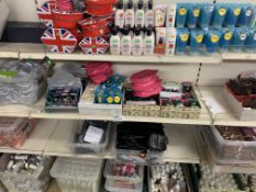 4 SHELVES TO INCLUDE MAKEUP SETS, HAIR GEL, MAKEUP BAGS, JEWELLERY CLEANING SOLUTIONS APPROX 500