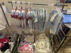 CLOTHES RACK AND CONTENTS APPROX 60 ITEMS INCLUDING BABYGROWS, VARIOUS DISNEY CLOTHING ETC