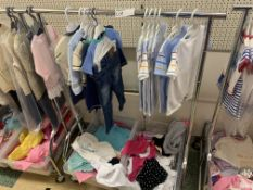 CLOTHES RACK AND CONTENTS APPROX 60 ITEMS INCLUDING BABY GROWS AND BABY CLOTHING