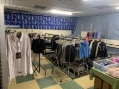 FULL SHOP CLOTHING ROOM TO INCLUDE BRAS, BELTS, SHIRTS, TRESPASS TROUSERS, JEANS, COAT HANGERS, NIKE
