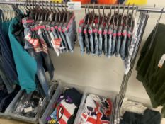 CONTENTS TO RACK INCLUDING KIDS SHORTS, JEANS, TOPS APPROX 60 ITEMS