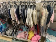 CLOTHES RACK AND CONTENTS APPROX 60 ITEMS TO INCLUDE BABYTOWN CLOTHING ETC