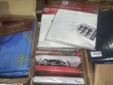 12 PIECE TEXTILE LOT INCLUDING ENGLAND FITTED SHEETS, ENGLAND CURTAINS, ENGLAND DUVET SETS ETC