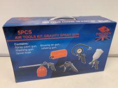 5 X BRAND NEW BOXED 5 PIECE AIR TOOLS KIT GRAVITY SPRAY GUNS