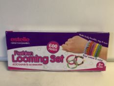 6 X NEW BOXED ESTELLE RUBBER BAND JEWELLERY FASHION LOOMING SET - 600 PIECES PER SET (237/28)
