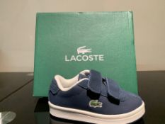NEW & BOXED LACOSTE TRAINER SIZE INFANT 4 (193 UPSTAIRS)