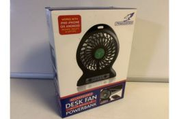 2 x NEW BOXED FALCON RECHARGABLE DESK FANS WITH BUILT IN POWER BANK (180/28)