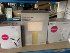 5 PIECE MIXED LIGHTING LOT TO INCLUDE DACTYLE TABLE LAMP, COLOURS CLOE AND 3 COLOURS PALOMA