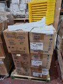 (M21) PALLET TO CONTAIN APPROX. 600 ITEMS TO INCLUDE A LARGE QTY OF WHITE TABLE COVERS. ORIGINAL