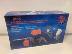 PALLET TO CONTAIN 25 X BRAND NEW BOXED 5 PIECE AIR TOOLS KIT GRAVITY SPRAY GUN SET. RRP £69.99 EACH