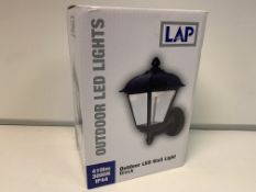 6 X BRAND NEW LAP BLACK OUTDOOR LED WALL LIGHTS