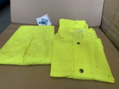 16 PIECE WORKWEAR LOT INCLUDING HI VIZ ALL WEATHER TROUSERS AND JACKETS VARIOUS SIZES