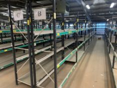 16 BAYS OF WAREHOUSE RACKING TO INCLUDE 18 UPRIGHTS & APPROX. 96 CROSS BEAMS. EACH BAY IS APPROX.