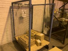 BLUE 4 WHEELED TROLLEY CAGE. NO CONTENTS INCLUDED
