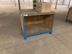 3 X BLUE METAL WORK STATIONS SIZE APPROX. 110CM(L) X 80CM (D) X 85CM (H)