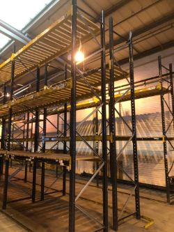 CONTENTS OF A MAJOR DISTRIBUTION WAREHOUSE TO INCLUDE LARGE QTY OF PALLET RACKING, WRAPPING MACHINES, MEZZANINE FLOORS, LADDERS, EQUIPMENT ETC