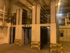 LINK 51 2 TIER RACKING SYSTEM. 6.1x6.1M APPROX. INCLUDES: 25 DOUBLE LOCKERS & 39 BAYS OF RACKING.