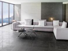 19.40m2 of Porcelanosa Black Naure Tiles. 29.7x29.7cm per tile, 0.97m2 per pack. A high quality