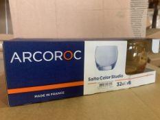 16 X BRAND NEW PACKS OF 6 ARCOROC SALTA COLOR STUDIO 32CL GLASSES