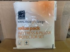 24 X BRAND NEW BOXED SNUG ESSENCE OF SLEEP MATTRESS AND PILLOW PROTECTOR SETS IN 3 BOXES SINGLE