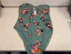 10 X BRAND NEW INDIVUDUALLY PACKAGED PIECES GREEN FLOWER PCYNYNNE SWIMSUITS IN VARIOUS SIZES (123/
