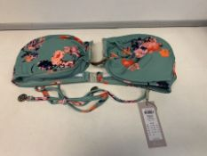 10 X BRAND NEW INDIVUDUALLY PACKAGED PIECES GREEN FLOWER PCYNYNNE BIKINI TOPS IN VARIOUS SIZES (