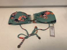 15 X BRAND NEW INDIVIDUALLY PACKAGED PIECES PCYNNE GREEN FLOWER BIKINI BANDEAU TOPS IN VARIOUS SIZES