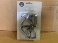 144 X BRAND NEW COOKIE CUTTER SETS IN 4 BOXES (93/8)