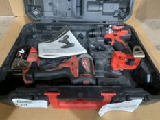 MILWAUKEE M18 TWIN PACK - DRILL & IMPACT DRIVER WITH 1 X BATTERY & CARRY CASE. UNCHECKED