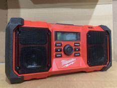 Milwaukee M18 DAB Jobsite Radio JSRDAB-0. UNCHECKED