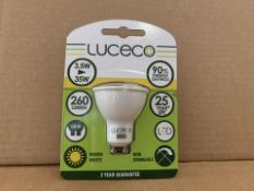 50 X BRAND NEW LUCECO 260 LUMEN 3.5W (35W) HU10 LIGHTBULBS (754/8)